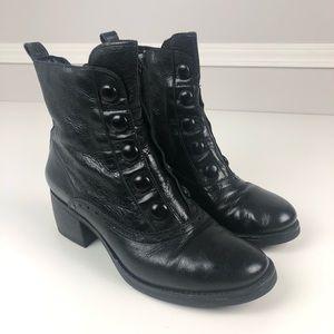 Miz Mooz Grant Button leather zip boot 42 black